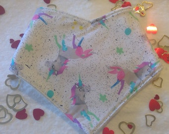 Bandana bib for baby - unicorns - Valentines baby