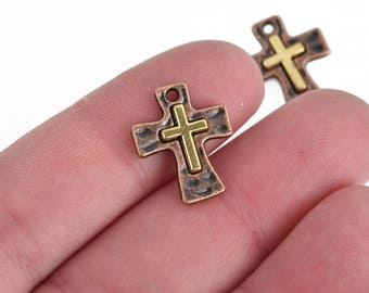 5 Cross Relic Charms, Copper Hammered Cross with Gold Cross, 17mm, chs3851