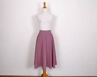 Vintage Gingham Check Skirt - Red White and Blue A-Line 'Juniorite'  Skirt - Size Small