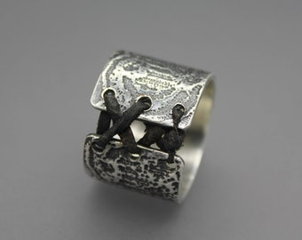 Corset Ring, Leather Ring, Silver Corset Ring, Tie Ring, Lace Jewelry, Unique Ring, Sexy Jewelry, Corset Jewelry, Sterling Corset