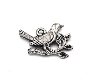 Dove and Olive Branch Silver Pewter Bird Charm -1