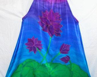 Purple Lotus silk sundress, hand painted silk dress, resort wear, beach coverup, purple blue sundress, silk halter dress, boho,festival wear
