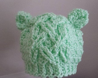Cabled Baby Bear beanie