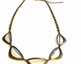 Antique Brass Boomerang Necklace