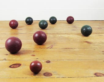 vintage bocce ball set,bocce balls,lawn game,outdoor game,July 4th,4th of July,picnic,holiday,MADE IN ITALY,petanque,circa 1970