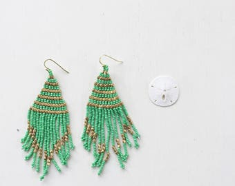 Tropical Days Beaded Tassel Earrings || Green & Gold, Green Tassel Earrings, Green Beaded Earrings, Bohemian Earrings, Long Earrings
