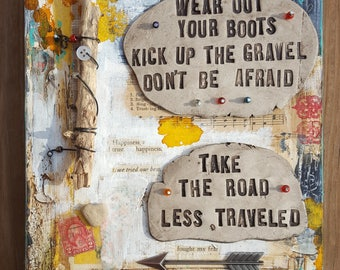 Wear Out Your Boots mixed media rustic decor by Jodene Shaw