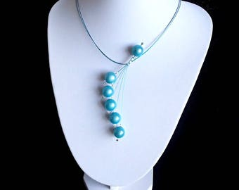 Blue Necklace, Swirls Necklace, Statement Necklace, Illusion Necklace