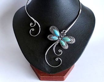 Dragonfly Necklace, Silver Necklace, Collar Statement Necklace, Wire Necklace, Open Necklace , Bridal Jewelry, Stylish Fashion necklace