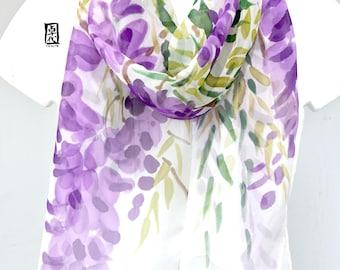 Hand painted silk scarf, Chiffon Scarf, Purple Japanese Scarf, Unqiue Gift, Purple Wisteria Scarf, Silk Scarves Takuyo, 11x60 inches,