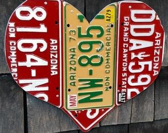 Arizona 1970s 1980s 1990s vintage License Plate Heart