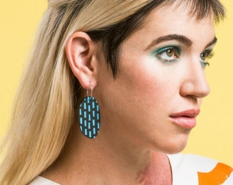 Rain Check Large Hoops - Laser Cut Glitter Drop Earrings - Hand Painted Each To Own Original - Matt Black and Baby Blue