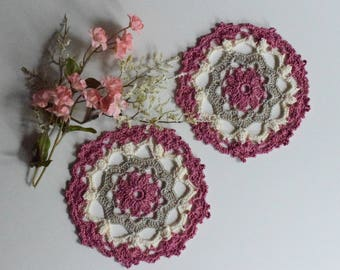 """Small Crochet Doily Pair - Rose and Taupe - Lacy Small Mini 6"""" - Set of 2"""