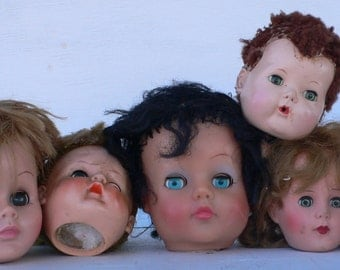 vintage doll heads, 6 baby parts, instant collection, spooky dolls, Halloween,crafts, from Diz Has Neat Stuff