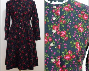 Bohemian VINTAGE 1970s Black Raspberry Red Pink Rose Flower Cotton  Victorian Swing skirt/ Country Folk Dress / Uk 10 Fr 38 Tyrol