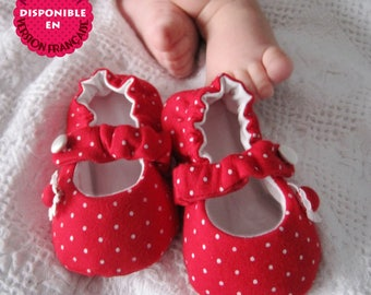 Mary Jane baby fabric Shoes, PDF Sewing Pattern, 7 sizes, Kids sewing Pattern / Patron de soulier, Modèle de couture soulier Enfant