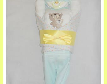 Neutral  Diaper Cake Baby Teddy Bear Themed-Adorable Baby Gift Or Shower Centerpiece