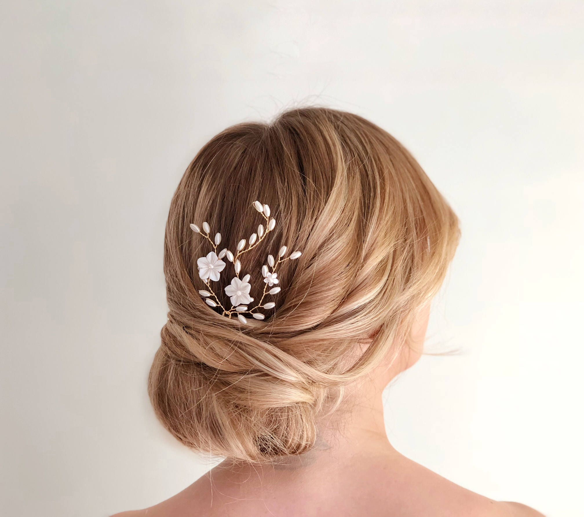 gold pearl hair pin, flower hair pin, wedding hair accessories