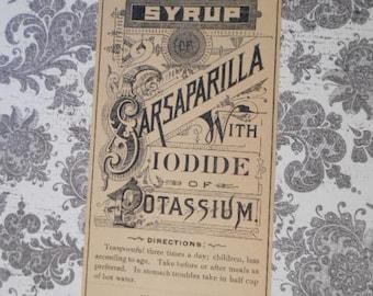 Original Victorian Evans' Compound Syrup of Sarsaparilla with Iodide of Potassium Label Ephemera