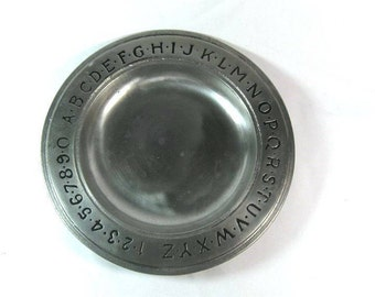 Vintage Pewter ABC Bowl Plate by The Old Bradford Co. Troy, PA Decorative