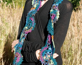 Peacock Scarf, Crochet Scarf, Crochet Lace Scarf, Lace Scarf, Neck Warmer