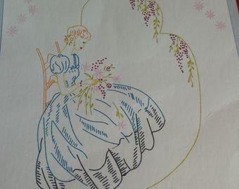 Crinoline Lady / Southern Belle quilt blocks (6) prestamped 18x18