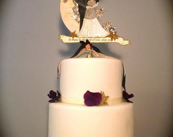 Wedding Cake Topper - Portrait - Custom Illustrated - Custom Painted  - Vintage Inspired