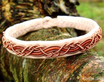 Shieldmaidens and Vikings Leather Copper Bracelet HUGINN Handmade Cuff in Traditional Sami style in Natural and Rosewood