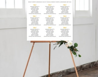 Seating Chart on Foam Core - Passion Pinks & Golds (Style 0007)