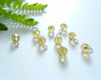 Beige Faceted Rondelle Dangle Beads