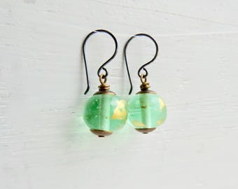 Julep - handmade artisan lampwork glass bead earrings in verdant mint green with gold leaf decoration  - Songbead UK, narrative jewelry