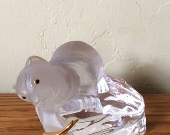 Vintage Crystal Polar Bear Figurine With Gold Fish, Igor Carl Faberge Paperweight Iceberg Made in France Franklin Mint