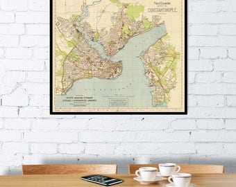 Istanbul map - Constantinopole map - Historical  map of Istanbul - Fine print