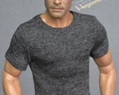 1/6th scale dark heather grey T-shirt for: action figures and male fashion dolls