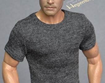 1/6 scale dark heather grey T-shirt for: action figures and male fashion dolls