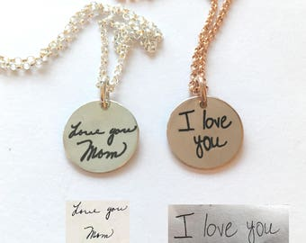 Actual Handwriting Necklace - Custom Handwriting Jewelry - Create Handwriting into a Keepsake - Personalized Memories Necklace   Handwritten