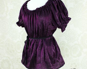 Steampunk Renaissance Cora Chemise in Plum Crinkled Shimmer Satin -- Custom Made in Your Size