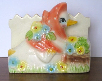 Vintage Napkin Holder - Cute Mother Goose - 1950's - Ceramic - Retro Kitchen Decor - Letter holder