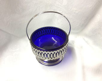 Vintage Cobalt Blue Glass Bowl Metal Caddy