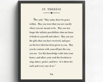 Custom Quote, Literary Print, Custom Poem, Book Page Art, Poem Gift, St. Therese Quote, Book Lover Gift