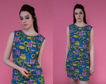 Vintage 1960s Mod Blue Geo Print Sleeveless Shift Mini Dress | xs small
