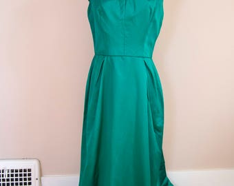 50s 60s Kornhauser Original Green Satin Full Length Gown Size Large or Extra Large