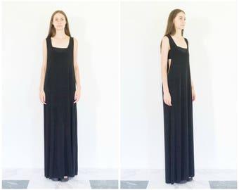 90s Extra Long Black Tank Dress / Minimal Maxi Dress