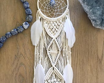 Macrame Dream Catcher // Modern Wall Art Hanging, Ivory Cream White Feathers, Boho Nursery Decor, Blue Sodalite Stone, Neutral, Small, Long