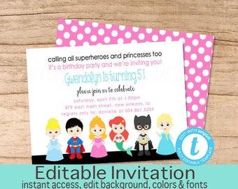 Superhero and Princess Birthday Invitation, Princess Birthday invitation, Superhero Invitation, Princess Invite, Editable Instant Download