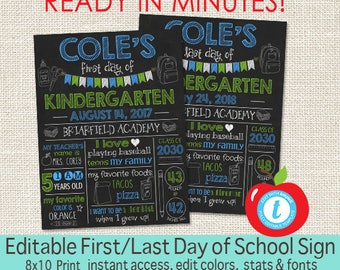First Day of School Chalkboard, First Day and Last Day of School sign, ANY GRADE, Back to School, Printable Sign, EDITABLE, Instant Download
