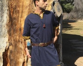 Viking Tunic - The Wanderer - Made to Order - Your Choice Size, Color, & Trim - Keyhole Neckline with Short Sleeves - Viking Clothing
