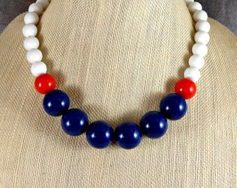 Statement Necklace, Gumball Necklace, Red, White, Blue, Beaded Necklace, Nautical, Chunky Necklace, Round Bead Necklace, Big Bead Necklace