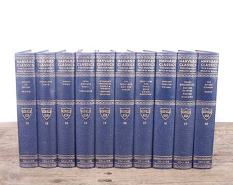 1937 Harvard Classics Book Set / 10 Volume Set / Collier & Son / Old Antique Black Books / Antique History Books / Old Books Vintage Books