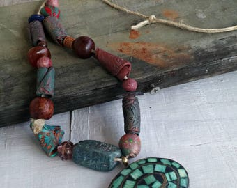 Mosaic Turquoise Pendant Necklace, Ceramic Artisan Beads Necklace, Bold Beaded Necklace, Savage Necklace OOAK, Tribal Organic Clay Jewelry
